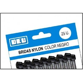 BRIDAS NYLON 2.5x100 NEGRAS BOLSA 25
