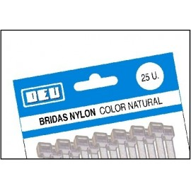 BRIDAS NYLON 3.6x200 NATURAL BOLSA 25